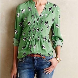 Maeve pintuck blouse